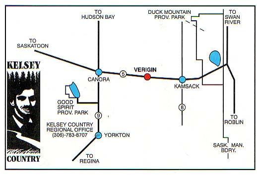 Map to Verigin Heritage Village, Saskatchewan